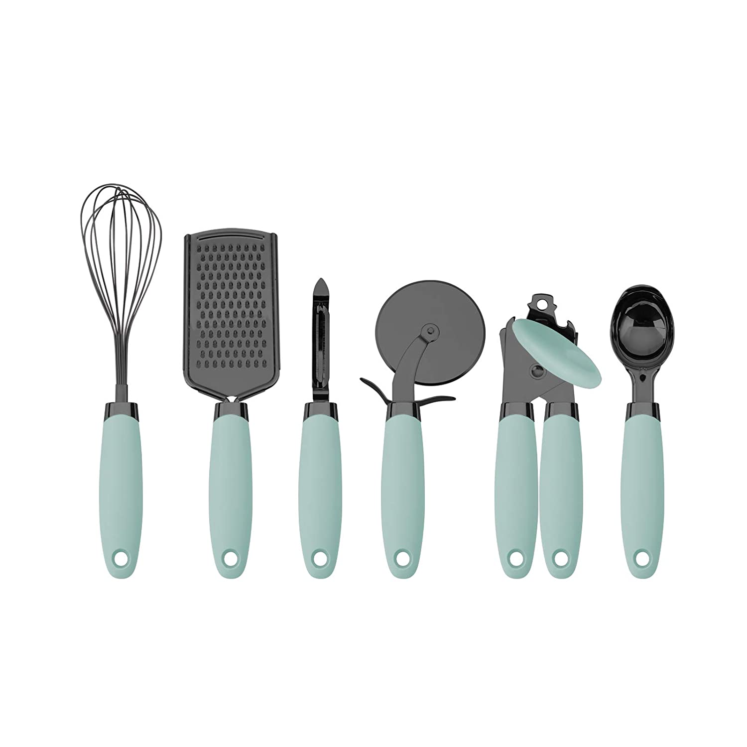Country Kitchen 6 Pc Essentials Kitchen Stainless Steel Gadget Set Black Gun Metal with Soft Touch Mint Green Handles for Cooking