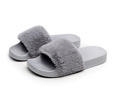 871971de0af37b HAVINA Women s Faux Fur Soft Slide Flat Slipper Flip Flop Grey 6-6.5 B(
