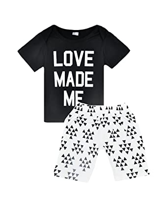 668902b54ca9c AKY Ensemble Bébé Fille Noir et Blanc Manche Courte T Shirt avec Short 2  Pièces pour