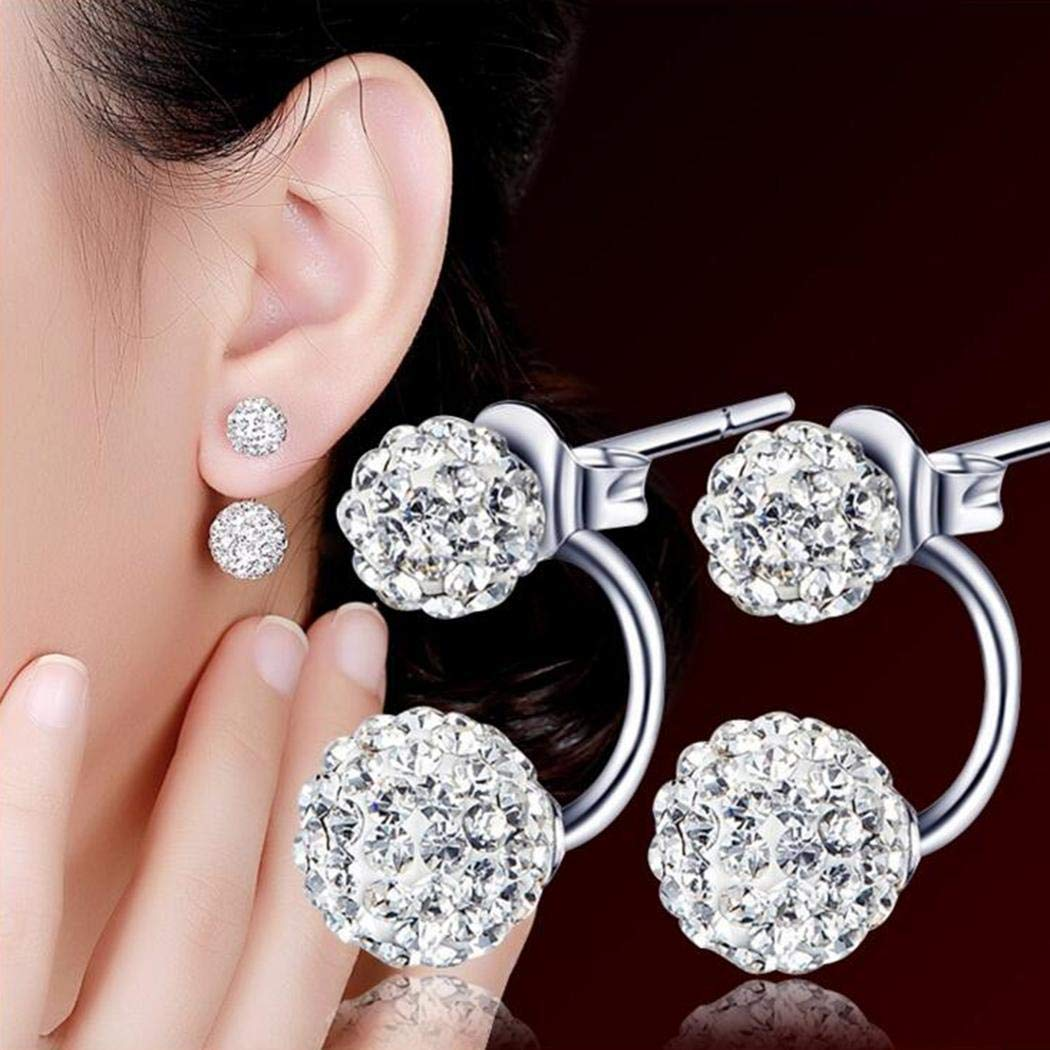 Eubell Double-sided Rhinestone Studs Earrings for Women Ladies Silver Plated Earrings Gift