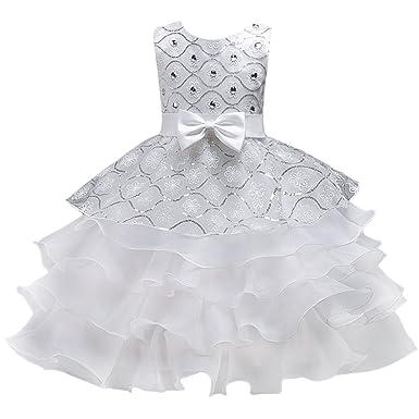 026577c22ae77 Enfant Fille Robe Cérémonie Longue Strass Faux Perles Robe Princesse Costume  Habillée de Soirée Mariage Demoiselle