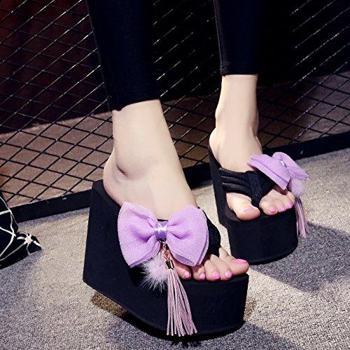 grueso Violeta de impermeable alto tacón Mujer exterior SCLOTHS Pajarita Chanclas desgaste Pendiente inferior 12cm XnfW71xwq