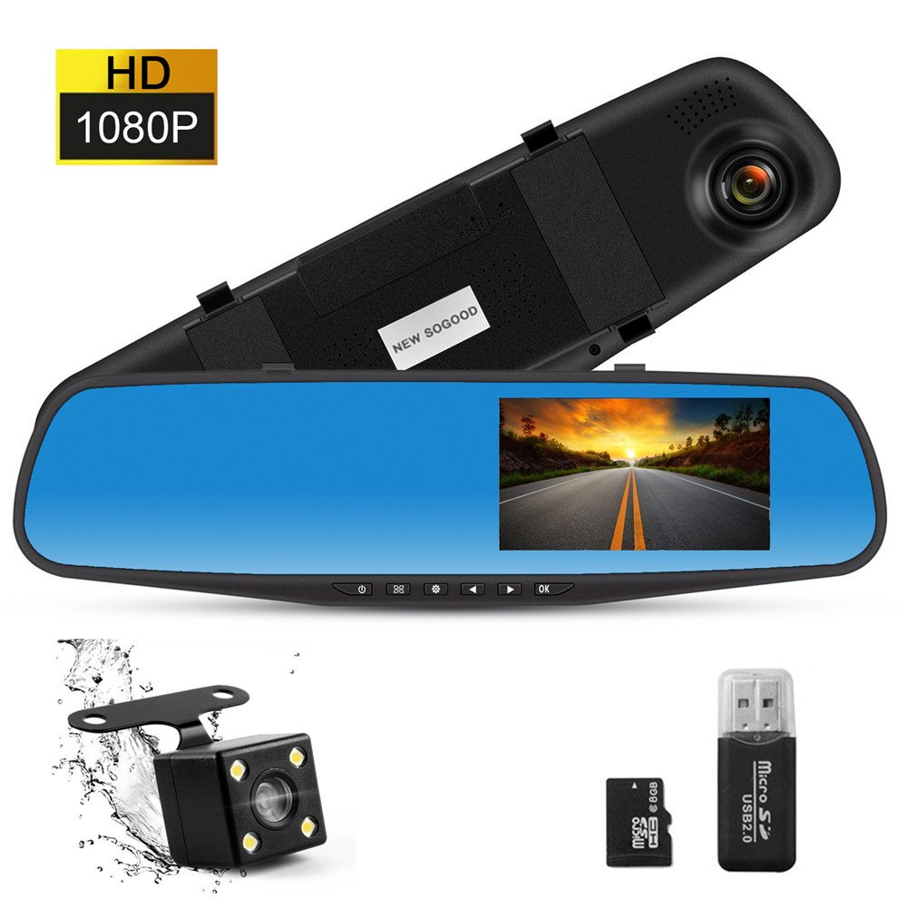 THINK SOGOOD 4.3'' LCD HD 1080P Car Video Camera | Driving Recorder with Dual Lens for Vehicles Front & Rear View Mirror | Dash Cam with 170° Wide Angle Lens and 8G Micro SD Card