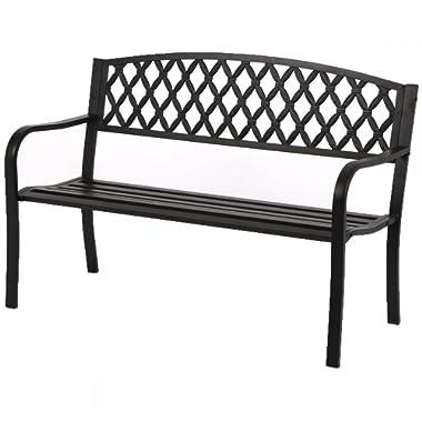 50  Patio Garden Bench Park Yard Outdoor Furniture Steel Frame Porch Chair