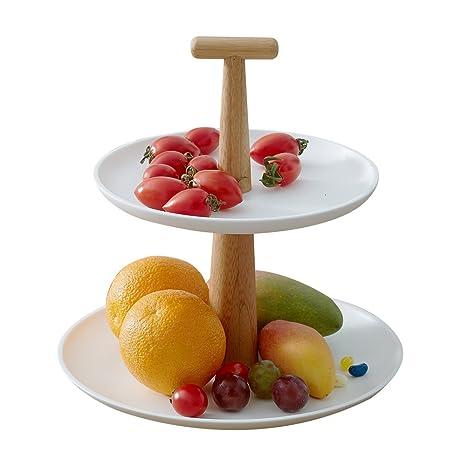 Zen de bambú 2-ties cuadrado Cupcake soporte platos de frutas de decoración de la