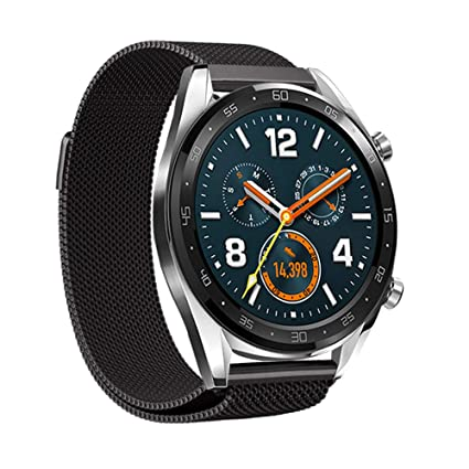 LeafBoat Compatible with Huawei Watch GT Band,Metal Mesh Milanese Loop Replacement Band Compatible Huawei Watch GT Classic/Sport/TicWatch E2/S2 / ...