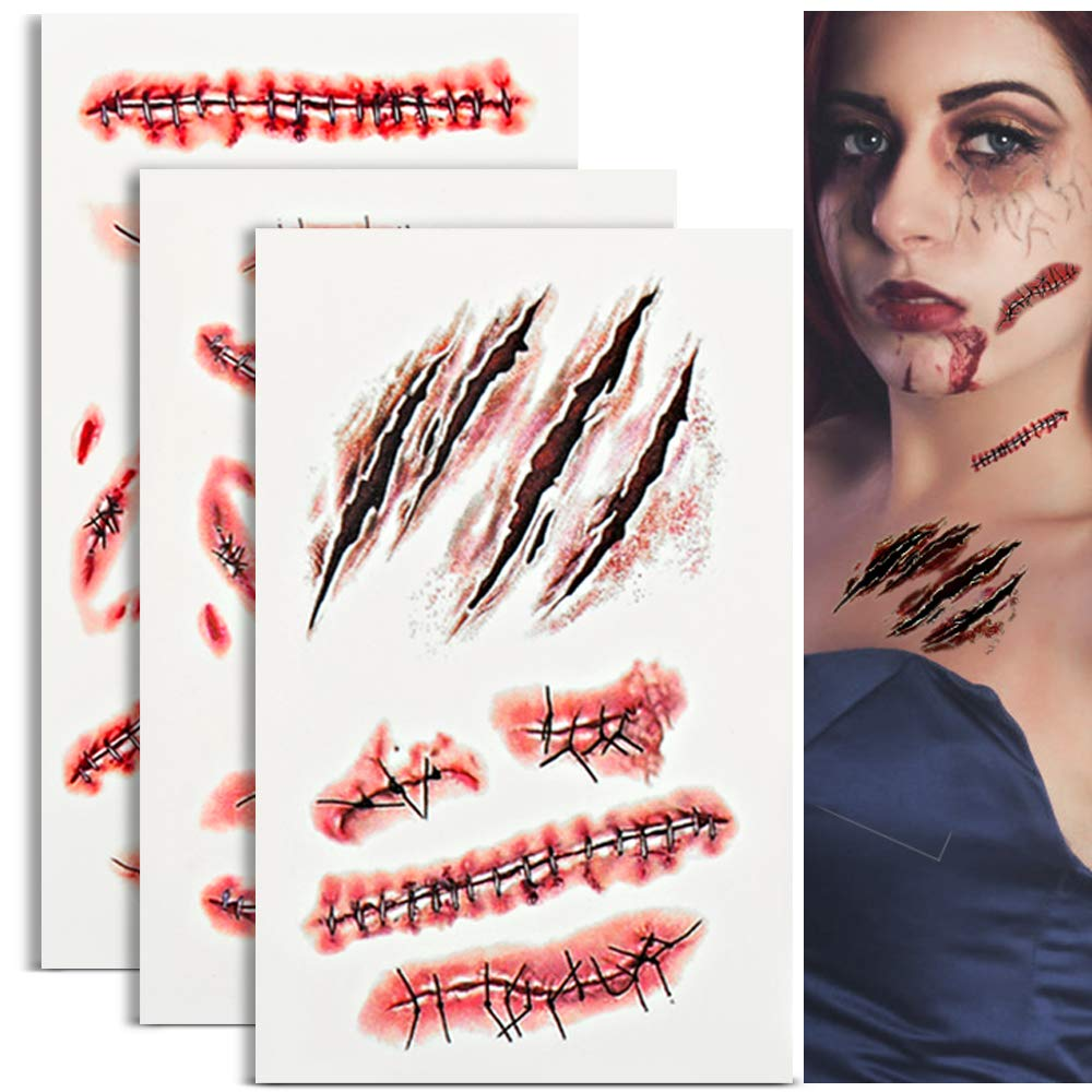 HNYYZL Temporary Tattoo, Halloween Tattoo Sticker Waterproof Long Lasting Horror Realistic Stitch Scar Wound Body Stickers for Masquerade Prank Makeup, Zombies Cosplay(3 Sheets, 22 Patterns)