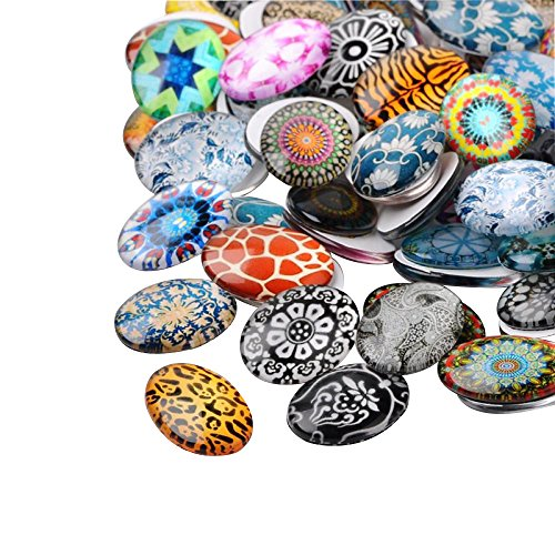 PH PandaHall Pandahall 100PCS Mixed Color Mosaic Printed Glass Oval Cabochons, 25x18x6mm