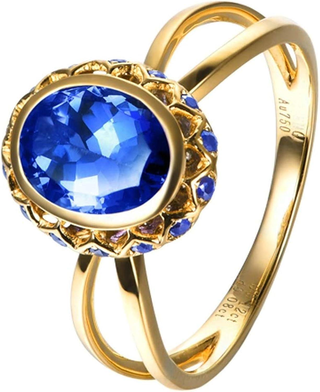 Daesar Anillo de Mujer Plata Azul Anillos Oro Blanco 18 Kilates Mujer Oval Tanzanita/Zafiro Azul 1.32ct Diamante 0.12ct