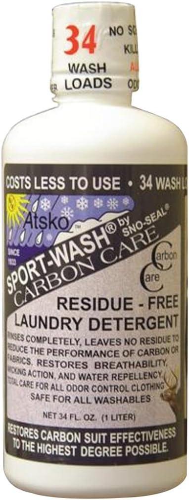 Atsko Sport Wash Carbon Care Laundry Detergent, 1 L, Black