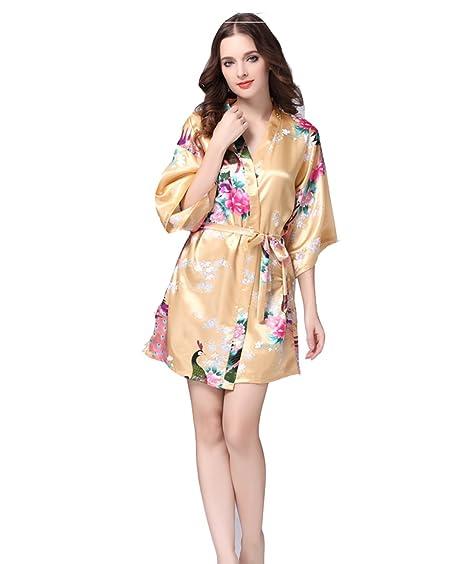 Pijama Mujer Verano Sexy Batas de casa con Escote Ropa de Dormir Seda: Amazon.es: Ropa y accesorios