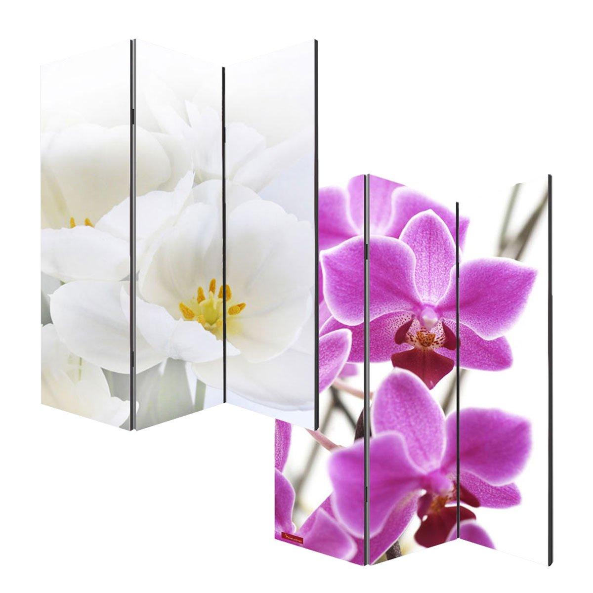 Mendler Paravento divisore doppia immagine 3 pannelli M68 180x120cm orchidee
