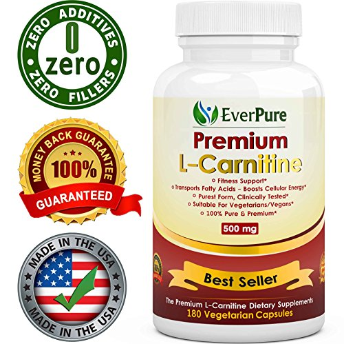 EverPure L-Carnitine Tartrate - 180 Count 500mg - Vegetarian Capsules - Top Rated - No Harmful Additives - Burn Fat - Improves Fitness - Immune System  Antioxidant Protection - Promotes Blood Flow