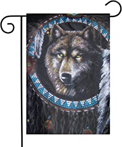 Native American Indians Wolf Garden Flags House Indoor & Outdoor Welcome Decorations,Waterproof Polyester Yard Decorative for Game Family Party Banner