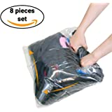 "8 Travel Storage Bags for Clothes - No Vacuum or Pump Needed -Reusable Space Saver Packing Sacks (4 items - 28x20"", 4 items - 24x16"") - Rolling Compression for Luggage (BLUE)"
