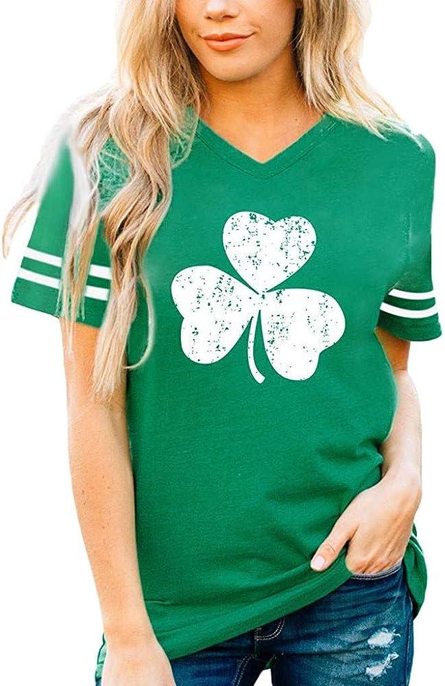 VEMOW T-Shirt Mujer Camiseta con Cuello en v Verde para Mujer del día de San Patricio, Blusa de Manga Corta a Rayas (Verde, S): Amazon.es: Ropa y accesorios