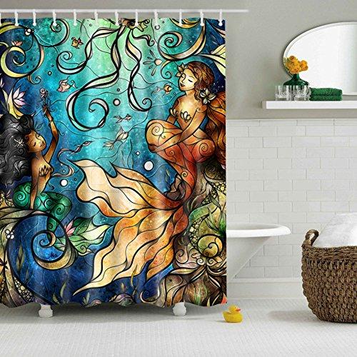 (KICODE Mermaid Pattern Waterproof Polyester Bathroom Shower Curtain Sheer Panel Decor)