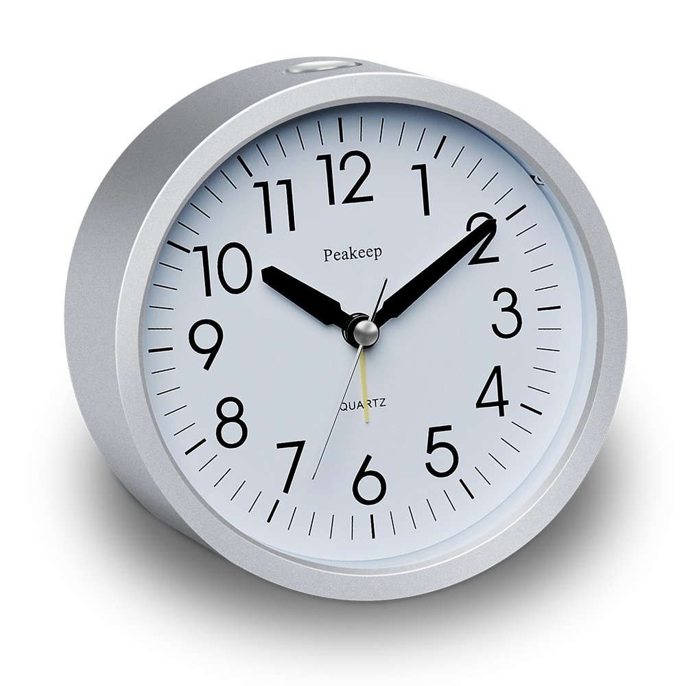 Peakeep 4 inch Round Silent Analog Alarm Clock Non Ticking, Gentle Wake, Beep Sounds, Increasing Volume, Battery Operated Snooze and Light Functions, Easy Set (Silver) MHP-3126-Silver