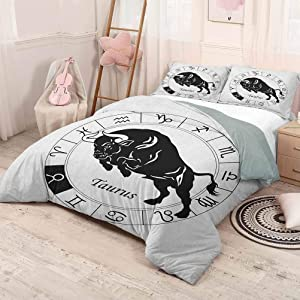 HELLOLEON (King) Zodiac Taurus 3-Pack (1 Duvet Cover and 2 Pillowcases) Bedding Mythological Ox Jumping Silhouette in a Zodiac Wheel with Twelve Signs Polyester Black and White