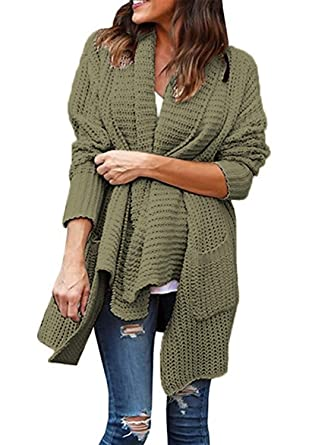 38af69400eb Basic Faith Women s Open Front Chunky Sweater Knit Coat Cardigans Army  Green S