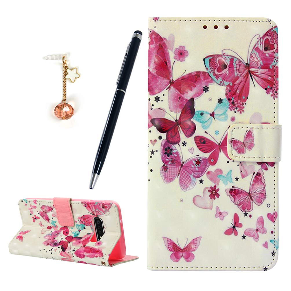 MOTIKO Galaxy S10e Case,3D Design Shockproof PU Leather Notebook Wallet Case Kickstand Card Holder Slim Flip Protective Cover with Dust Plug /& Stylus for Samsung Galaxy S10e 5.8 Gold Butterfly