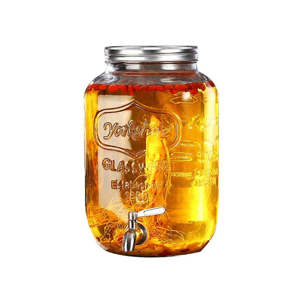 Wine Set Wine Barrel-Sparkling Glass Bottle Enzyme Barrel Glass Sealed Cans Household Juice Cans with Faucet Beverage Bottles -/# (Color : B, Size : 5L)