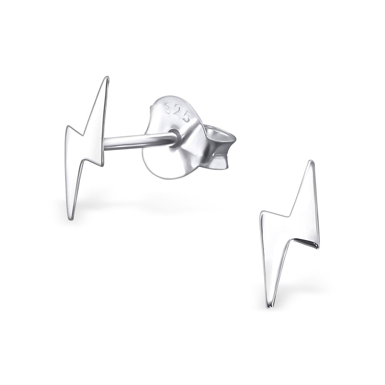 Hypoallergenic Lightning Bolt Stud Earrings for Girls (Nickel Free and Safe for Sensitive Ears)