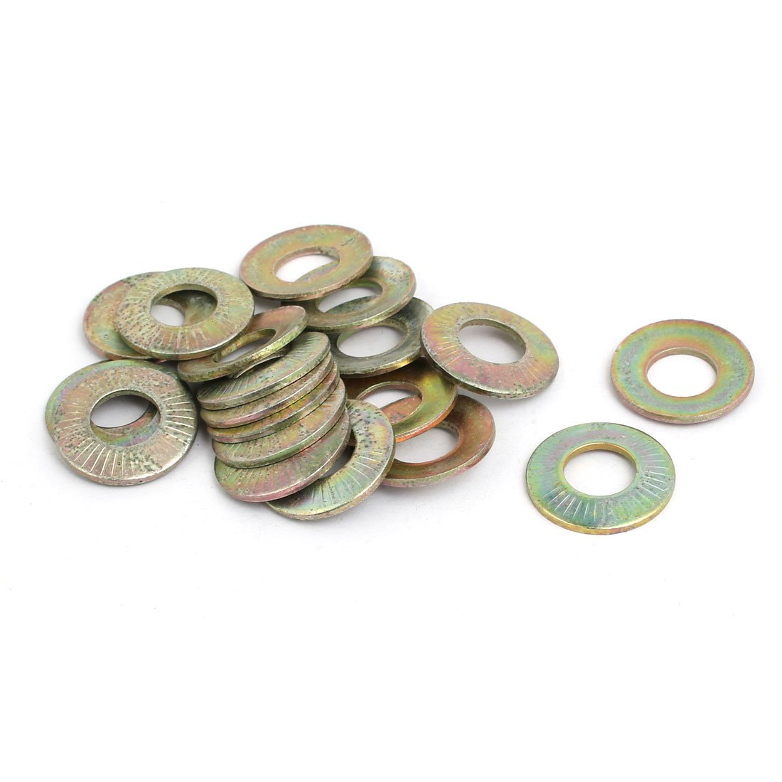 uxcell M10 Inner Dia Carbon Steel Serrated Conical Spring Washer Bronze Tone 20pcs a17062100ux1458