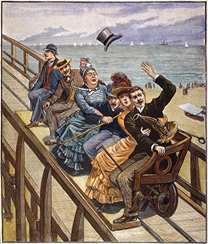 Switchback Railway 1886 Nthe First Roller Coaster In The United States Located In Coney Island Offered One-Minute Rides For A Nickel Colored Engraving 1886 Poster Print by (18 x 24)