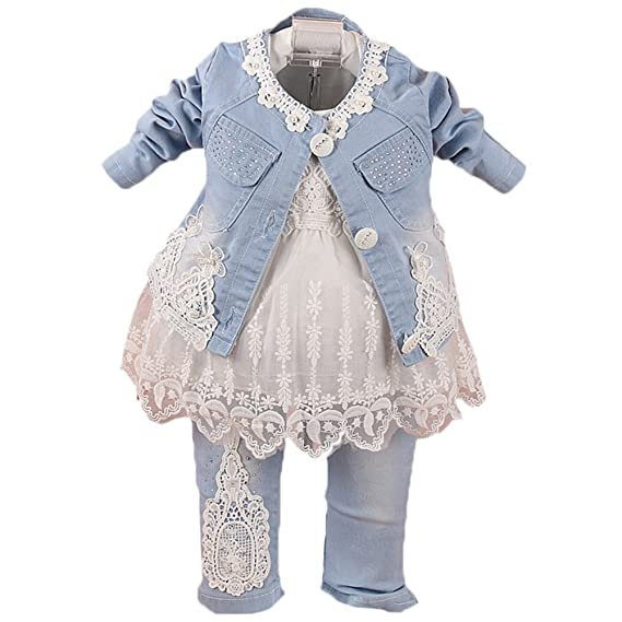 7096d1aa84b Scothen Baby Girl 3pcs Veste+Tutu+Pantalon Denim Jeans Haut Robe Cow ...