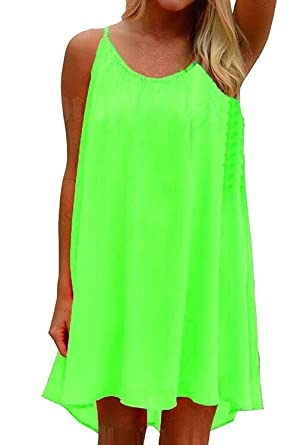 e5f88c25ef508 Amstt Womens Summer Sexy Vibrant Color Chiffon Dress Bathing Suit Cover Up  (S