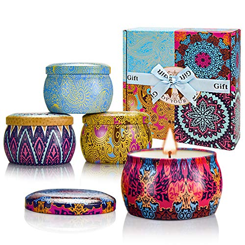 Scented Candles Set, Natural Soy Wax Candle Gift Set for Women Travel Tin Candles, Lemon, Lavender, Mediterranean Fig, and Spring for Aromatherapy, Stress Relief - 4 Pack (4.4oz each)