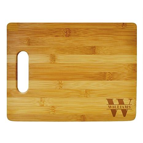 e696dd6afea7d Custom Cutting Board Last Name Monogram Design - Wood Engraved Cutting Board  - Personalized Bamboo Cutting