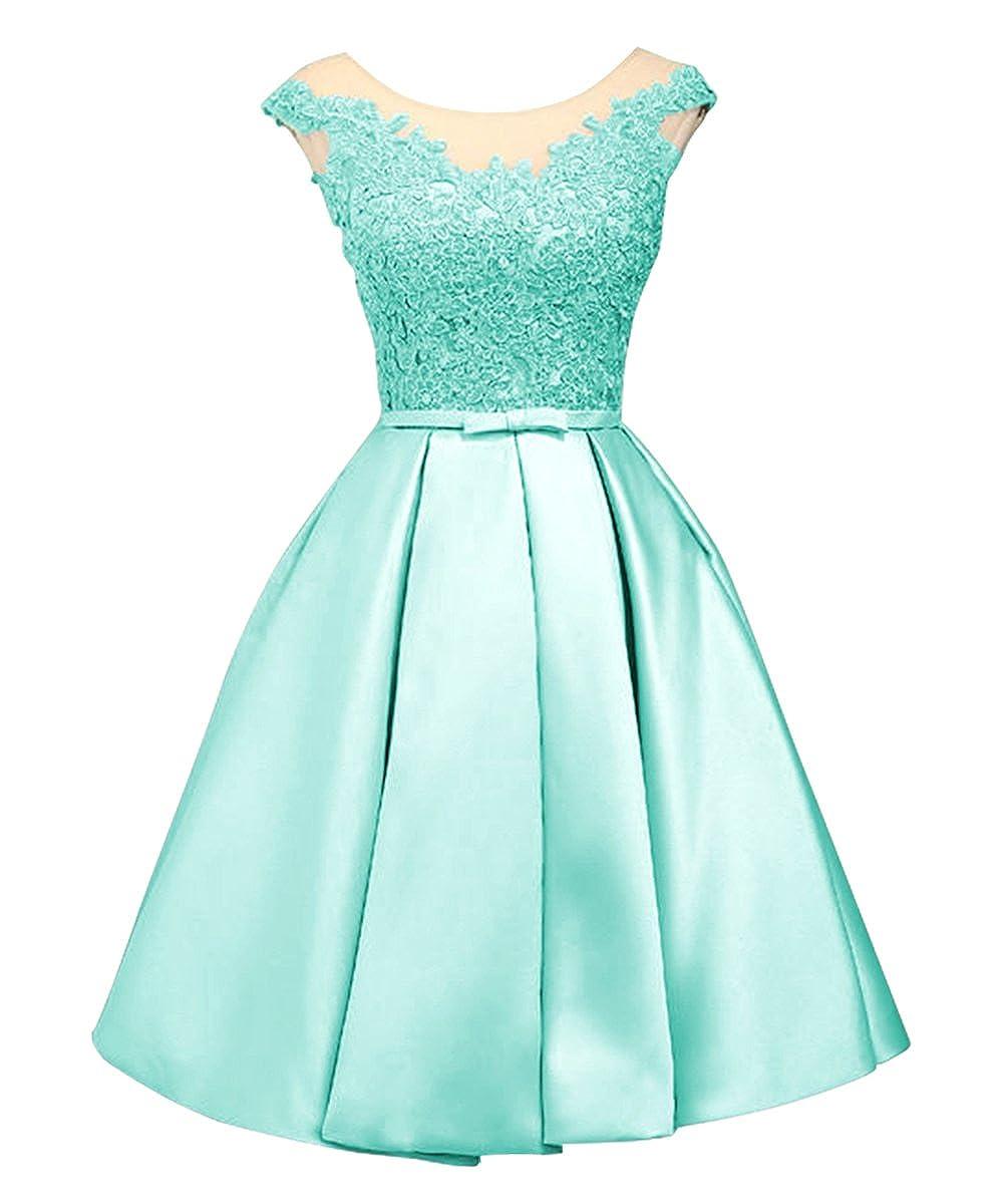 LanierWedding Women\'s Floral Lace Prom Dresses Short 2017 Cap Sleeve ...