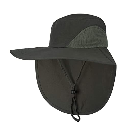 e005d2d8 Orolay Unisex Outdoor Hats Sun Protection Fishing Hat Wide Brim Neck Flap  UPF 50+ ArmyGreen