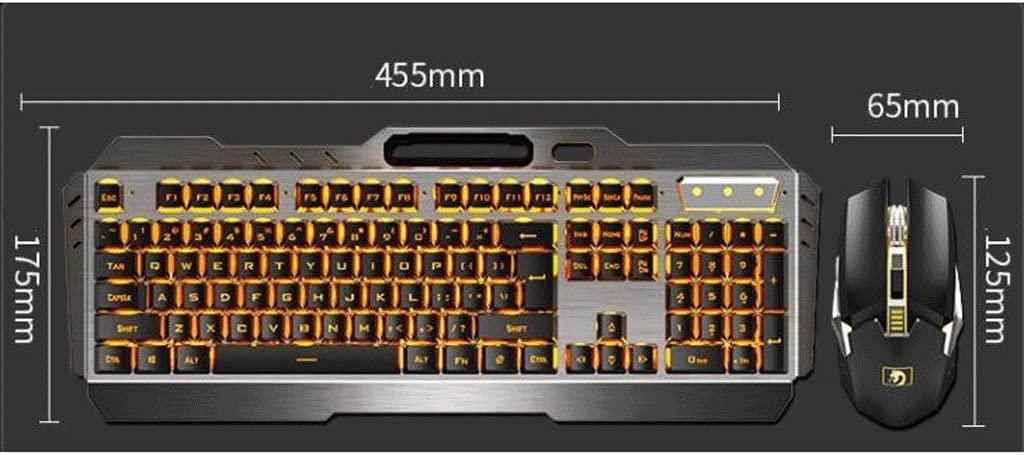 LED Lighting Color : White Gaming Keyboard and Mouse Set Slim Compact Low Profile Rechargeable Keyboard and Mouse Set with Long Battery Life,for Pro PC Gamer
