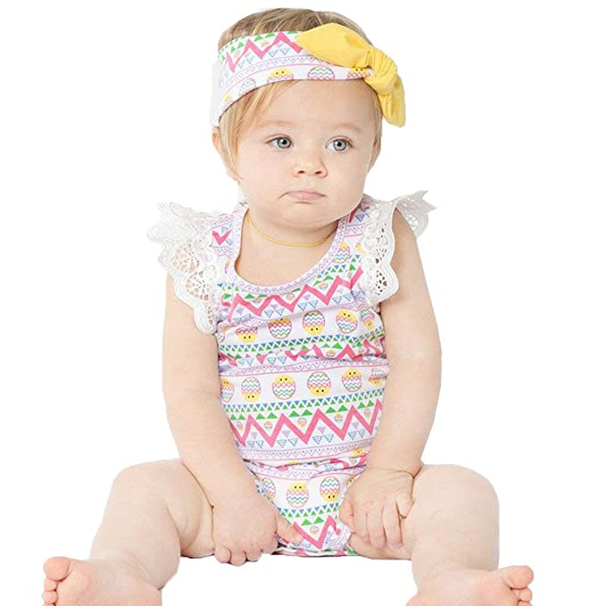 efae526d4 Reokoou Newborn Infant Baby Girls Easter Eggs Lace Romper Playsuit Headband  Outfits White