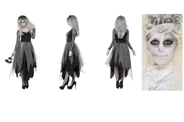 Smiffys - Disfraz de novia fantasma para Halloween - Adulto para mujer - gris, con vestido y velo de rosa - añadir maquillaje - ideal para Halloween, ...
