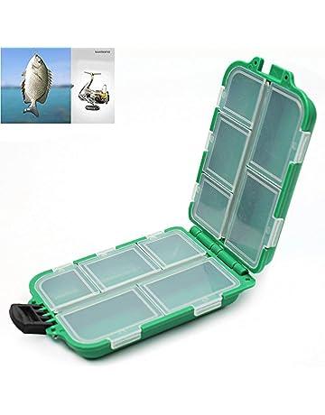 Beito Caja de Almacenamiento con 10 Compartimentos de plástico para Pesca con Mosca, Señuelo de