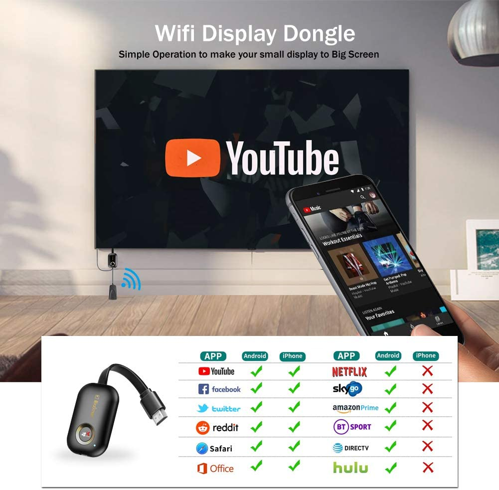 2.4G Wireless 1080P HDMI Adaptador Miracast Streaming TV Stick para Mac OS//Windows//Android//iOS Soporte Chromecast//Google Home//Netflix//Miracast//Airplay//DLNA WiFi Display dongle