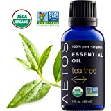 Aetos Organic Tea Tree Oil, USDA Certified Organic Essential Oils, Non GMO, 100% Pure, Natural, Therapeutic Grade Essential Oil, Best Aromatherapy Scented-Oils for Home, Office, Personal Use - 1 Oz