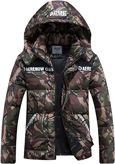 Jotebriyo Mens Thicken Hoodie Fleece Warm Zip Front Fall /& Winter Print Quilted Jacket Coat Outerwear