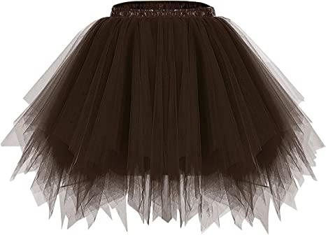 Bridesmay Womens Short Party Tutu Ballet Bubble Skirt Retro Petticoat Skirt Black XL