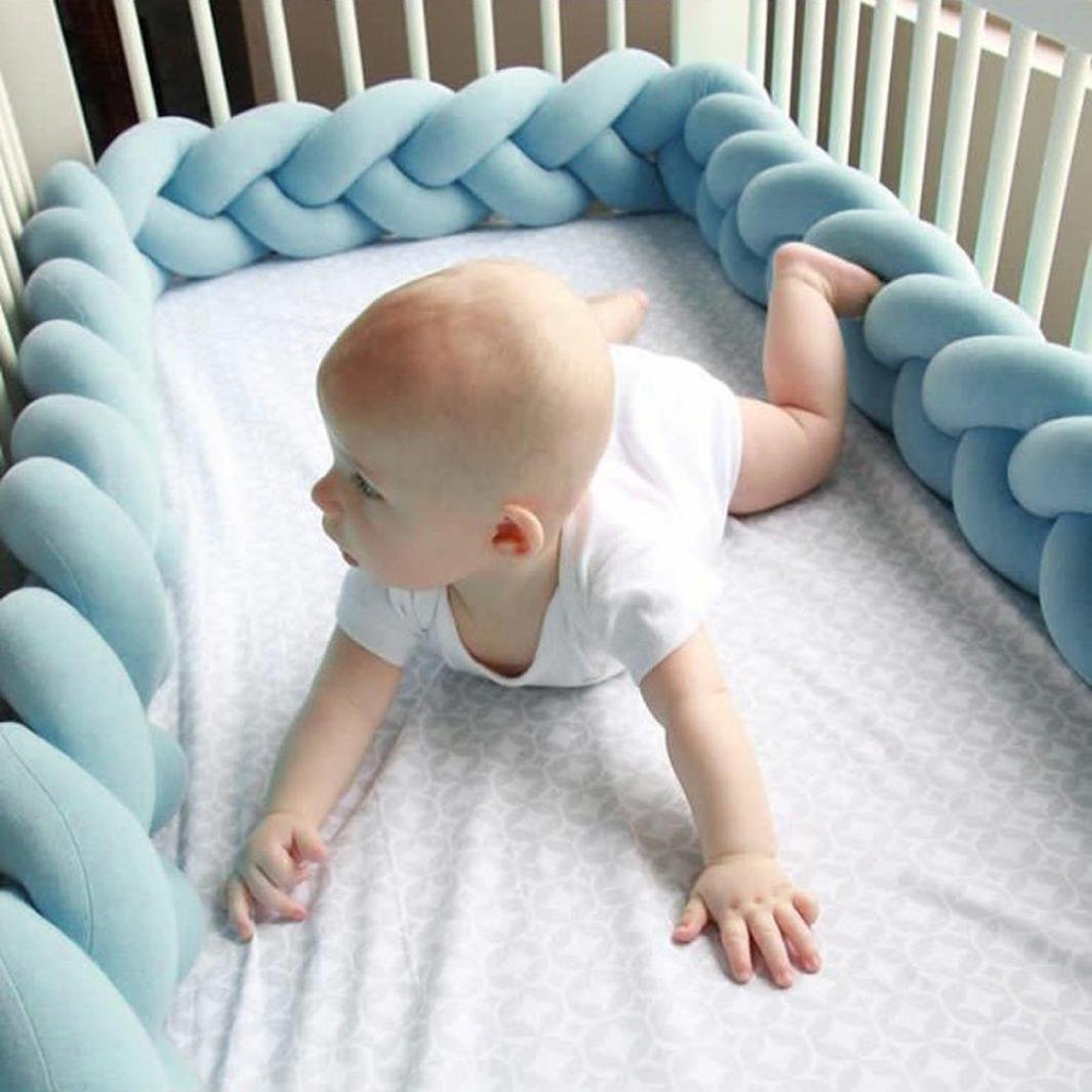 Crib Bumper, Transer Cotton Rattan Baby Infant Creeping Guardrail Bed Safety Rail Protector (Length: 78.7 Inch, Blue)