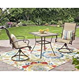 3-Piece Tan Waterproof Breathable All-Weather Sling Fabric Durable Powder-Coated Steel Frame Wesley Creek Bistro Set With Swivel Chairs