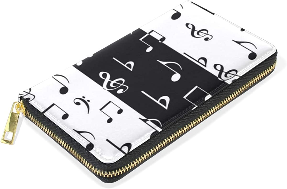 FAJRO White Music Note Wallets for Women Leather Clutch