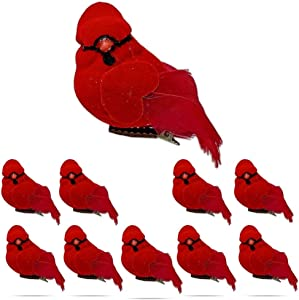 Red Cardinal Bird Decorations - Cardinal Clip On Christmas Tree Ornaments - Red Velvet & Feathers - Set of 10- approx 3 Inch Clip-On Birds- Great for Wreaths Centerpieces Crafts DIY -Holiday Décor…
