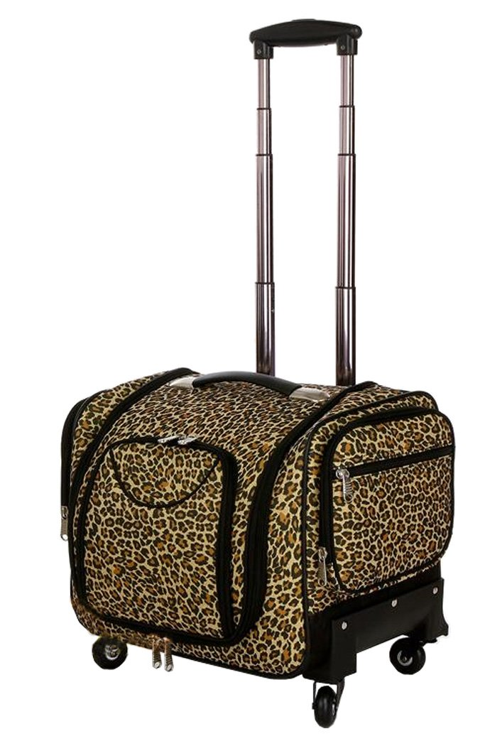 Douniushi Womens Oxford Fabric Cosmetic Luggage with Wheels - Leopard Print