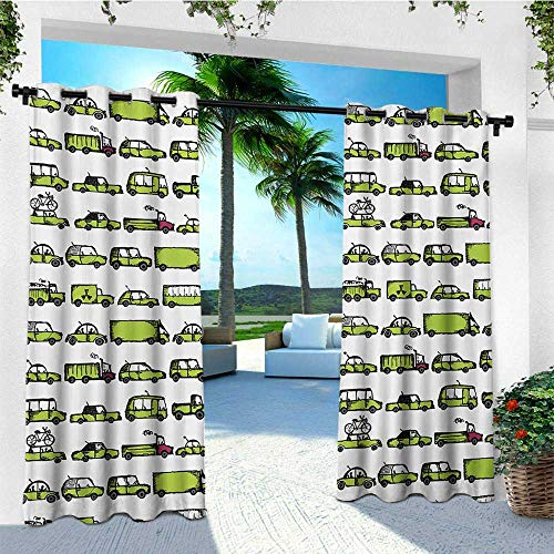 (leinuoyi Cars, Outdoor Curtain Extra Wide, A Number of Cars with Various Jobs Trucks Sedans Buses Traveling Journey Working, Outdoor Privacy Porch Curtains W120 x L108 Inch Apple Green)