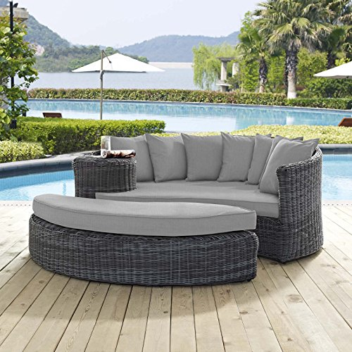 (Modway EEI-1993-GRY-GRY Outdoor Patio Sunbrella Daybed, Gray )